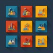 Industrial factory buildings icons set in flat design style. — Stock Vector #32879957