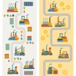 Industrial factory buildings vertical banners. — Stock Vector