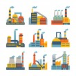 Industrial factory buildings icons set in flat design style. — Stock Vector