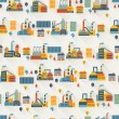 Industrial factory buildings seamless pattern. — Stock Vector