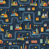 Industriële fabriek gebouwen naadloze patroon. — Stockvector