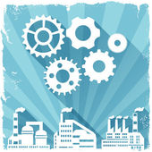 Industrial factory buildings background. — Stock vektor