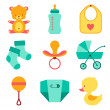Newborn baby stuff icons set. — Stockvectorbeeld