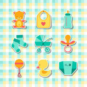 Newborn baby stuff icons stickers. — Stock Vector