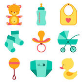 Newborn baby stuff icons set. — Stock Vector