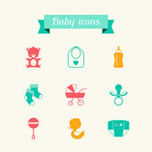 Newborn baby icons set in flat design style. — Stock Vector