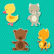 Little cute baby cat, bear, fox and duck stickers. — Векторная иллюстрация