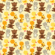 Seamless pattern with baby cat, bear, fox and duck. — Vektorgrafik