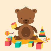 Little cute baby bear playing with toys. — Stock Vector