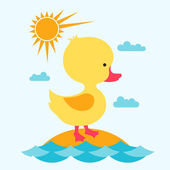 Little cute baby duck at sea. — Stock Vector