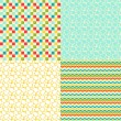 Happy Easter set of seamless patterns. — Stock vektor