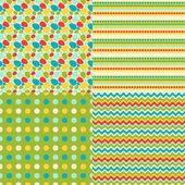 Happy Easter set of seamless patterns. — Stock Vector