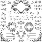Set of curled calligraphic design elements. — Stock Vector