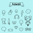 Set of decorative design elements kawaii doodles. — Stock Vector
