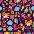 Seamless kawaii child pattern with cute doodles. — Vektorgrafik