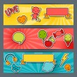 Horizontal banners with sticker kawaii doodles. — Vettoriali Stock