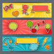 Horizontal banners with sticker kawaii doodles. — Stock vektor