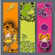 Vertical banners with sticker kawaii doodles. — ベクター素材ストック