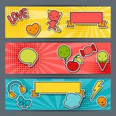 Horizontal banners with sticker kawaii doodles. — Stock Vector