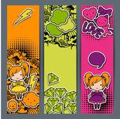 Banners verticais com adesivo kawaii doodles. — Vetor de Stock