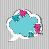 Speech bubble with sticker kawaii doodles. — Stok Vektör