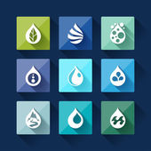 Water drop icons in flat design style. — Stock Vector