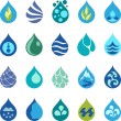Water drop icons and design elements. — Stock Vector #35260339
