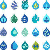 Water drop icons and design elements. — Stock Vector