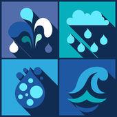 Hintergrund mit Wasser Ikonen im flachen Design-Stil. — Stockvektor
