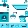 Plumbing equipment icons in flat design style. — Stockvektor