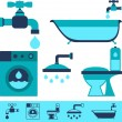 Plumbing equipment icons in flat design style. — Grafika wektorowa