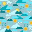 Seamless pattern with seasons and weather. — Stock Vector