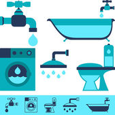 Plumbing equipment icons in flat design style. — Stock Vector