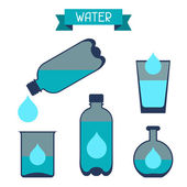 Water storage capacity icons in flat design style. — Stock Vector