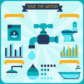 Save the water. Poster with infographics in flat style. — Stock Vector