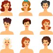 Collection of portraits beautiful pin up girls 1950s style. — Stock Vector #35904685