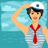 Card with beautiful pin up sailor girl 1950s style. — Stock Vector