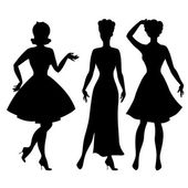 Silhouettes of beautiful pin up girls 1950s style. — Stock Vector
