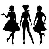 Silhouettes of beautiful pin up girls 1950s style. — Vettoriale Stock