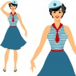 Beautiful pin up sailor girl 1950s style. — Stock Vector
