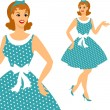 Beautiful pin up girl 1950s style. — Stock Vector