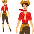 Beautiful pin up cowgirl 1950s style. — Stock Vector