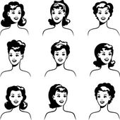 Collection of portraits beautiful pin up girls 1950s style. — Stock Vector