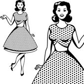 Vackra retro flicka i pop art stil. — Stockvektor