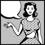 Illustration of retro girl in pop art style. — Stock Vector