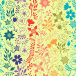 Romantic seamless pattern of various flowers in retro style. — Image vectorielle