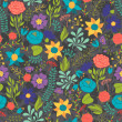Romantic seamless pattern of various flowers in retro style. — Stockvektor