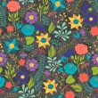 Romantic seamless pattern of various flowers in retro style. — Imagen vectorial