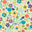 Romantic seamless pattern of various flowers in retro style. — Stock Vector