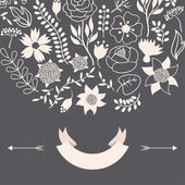 Romantic background of various flowers in retro style. — Stock Vector